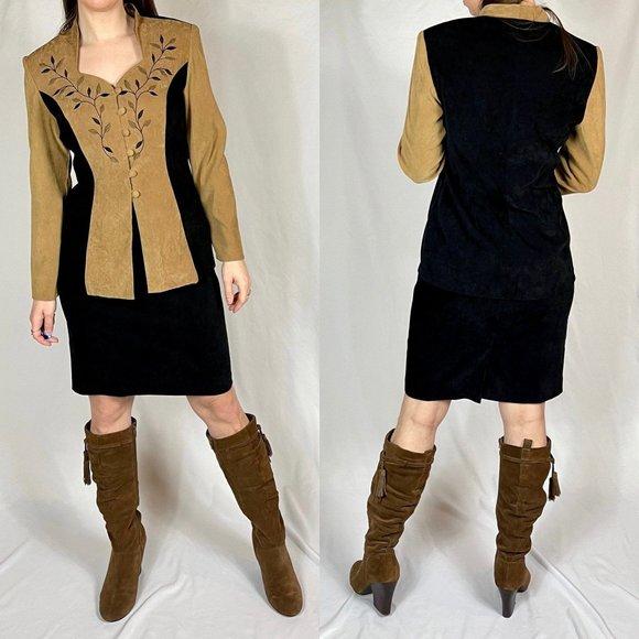 VINTAGE Skirt Set Embroidered Jacket | I12